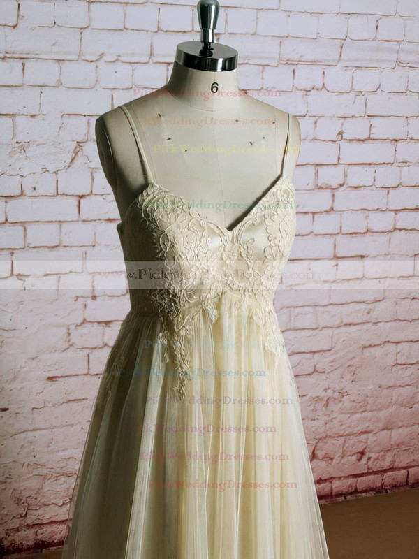 Champagne Tulle with Appliques Lace V-neck Straps Popular Empire Wedding Dress #PWD00021223