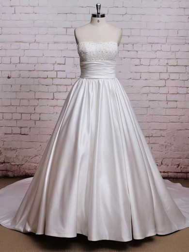 Strapless Satin Stunning Chapel Train with Bow Wedding Dresses #PWD00021224