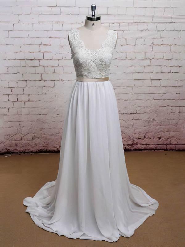 Chiffon Sweetheart Sweep Train Lace Promotion Wedding Dress #PWD00021225