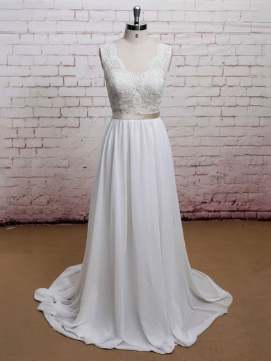 Chiffon Sweetheart Sweep Train Lace Promotion Wedding Dress #PWD00021225