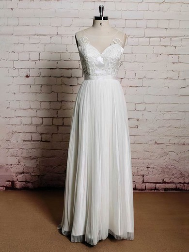 Tulle Scoop Neck Appliques Lace Different Covered Button Wedding Dresses #PWD00021226