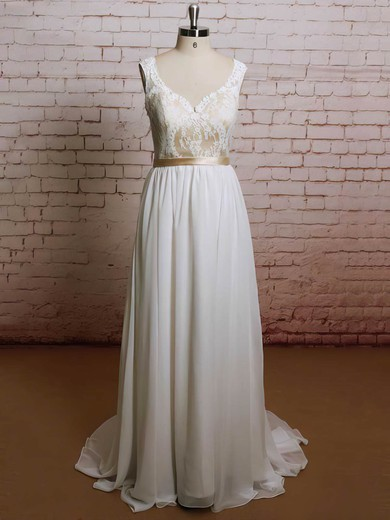 Best Sweep Train Sweetheart Chiffon Lace Ruffles Wedding Dresses #PWD00021227
