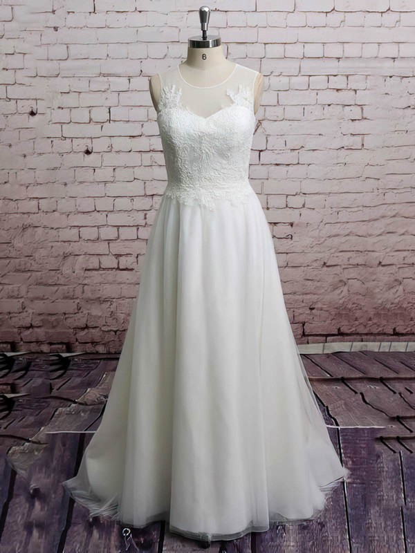 Discounted Appliques Lace Princess Scoop Neck Tulle Wedding Dresses #PWD00021228