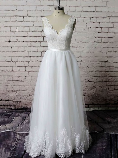 Appliques Lace Sweetheart Princess Newest Organza Wedding Dresses #PWD00021229