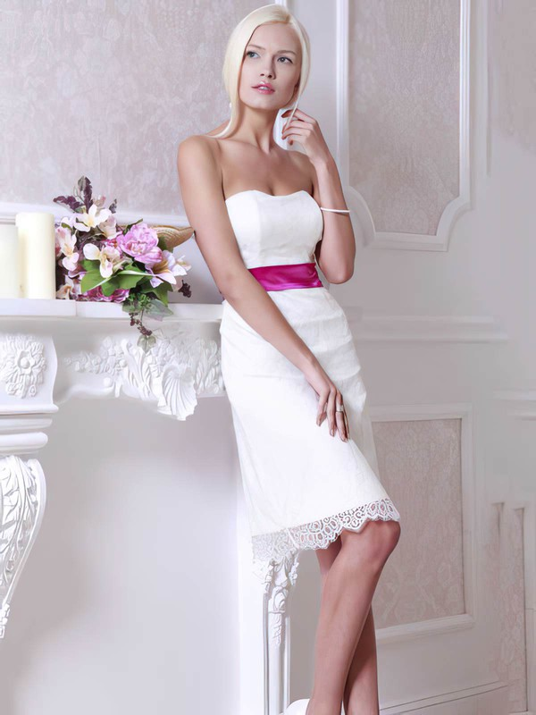 Classic White Sashes/Ribbons Lace Sheath/Column Knee-length Wedding Dress #PWD00021364