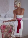 Classic White Sashes/Ribbons Lace Sheath/Column Knee-length Wedding Dress #PWD00021364
