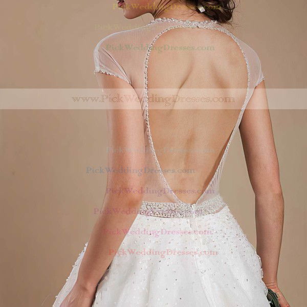 Beautiful Ball Gown Open Back Tulle Cap Straps Scoop Neck Wedding Dresses #PWD00021368