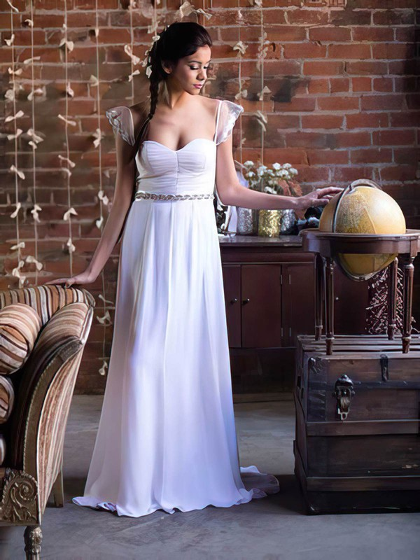 Beautiful Sweetheart with Cap Straps A-line Beading Chiffon White Wedding Dress #PWD00021369