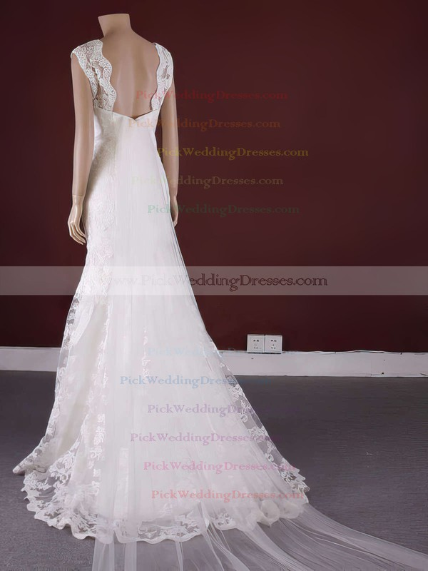 Classic Lace Scoop Neck Appliques Lace Trumpet/Mermaid Watteau Train Wedding Dress #PWD00021371