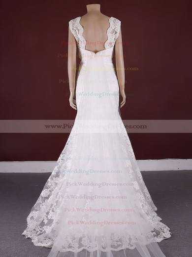 Classic Lace Scoop Neck Appliques Lace Trumpet/Mermaid Watteau Train Wedding Dress #PWD00021371