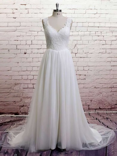 White Tulle Ball Gown Appliques Lace V-neck Sweep Train Wedding Dresses #PWD00021372