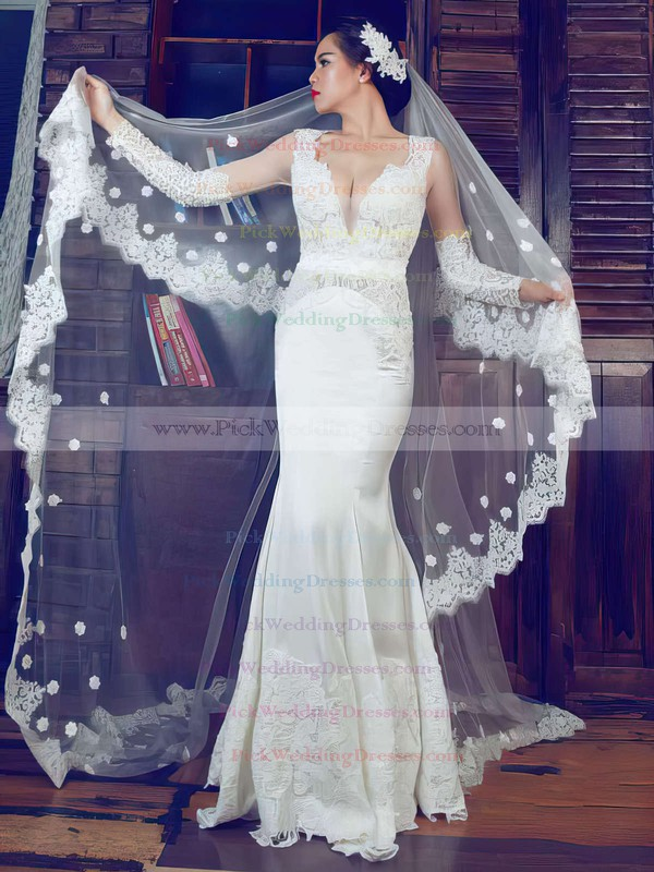 Fashion Trumpet/Mermaid Ivory Lace Elastic Woven Satin Long Sleeve V-neck Wedding Dress #PWD00021375