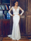 Fashion Trumpet/Mermaid Ivory Lace Elastic Woven Satin Long Sleeve V-neck Wedding Dress #PWD00021375
