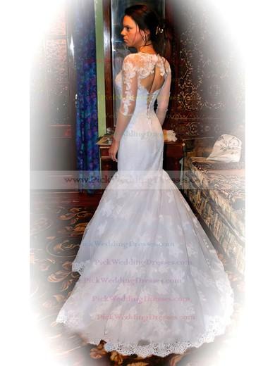 Nice Trumpet/Mermaid Chapel Train Tulle Lace-up Long Sleeve Wedding Dresses #PWD00021378