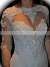 Nice Trumpet/Mermaid Chapel Train Tulle Lace-up Long Sleeve Wedding Dresses #PWD00021378