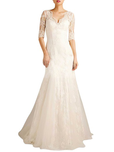1/2 Sleeve Trumpet/Mermaid Ivory Lace with Lace-up Sweep Train Wedding Dresses #PWD00021379