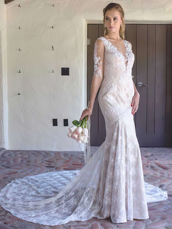 Affordable Lace Tulle Trumpet/Mermaid V-neck Beading Wedding Dresses #PWD00021382
