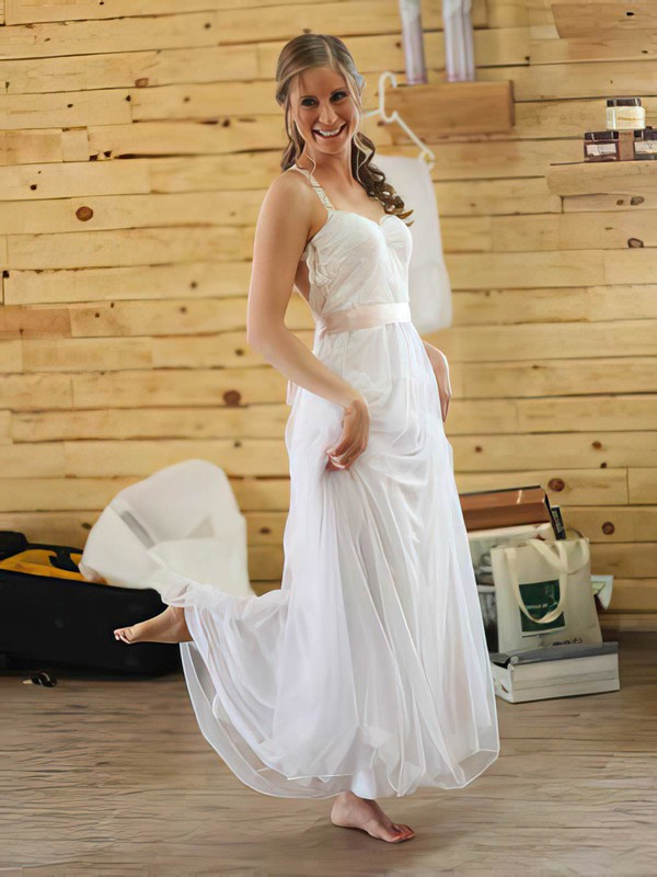 Backless White Chiffon Lace with Sashes/Ribbons Fashion Halter Wedding Dresses #PWD00021384