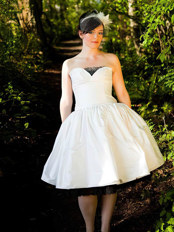 Ball Gown Strapless Ivory Lace Taffeta Covered Button Tea-length Wedding Dress #PWD00021385