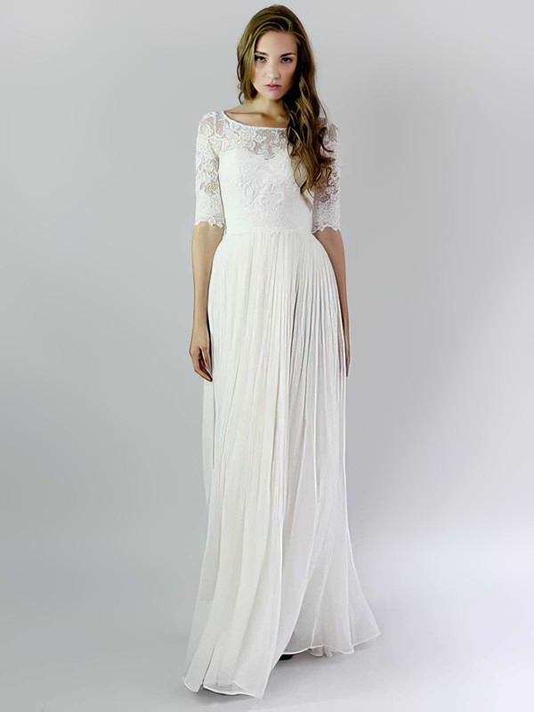 Fashion Ivory A-line Chiffon and Lace Ruffles Scoop Neck 1/2 Sleeve Wedding Dresses #PWD00021392