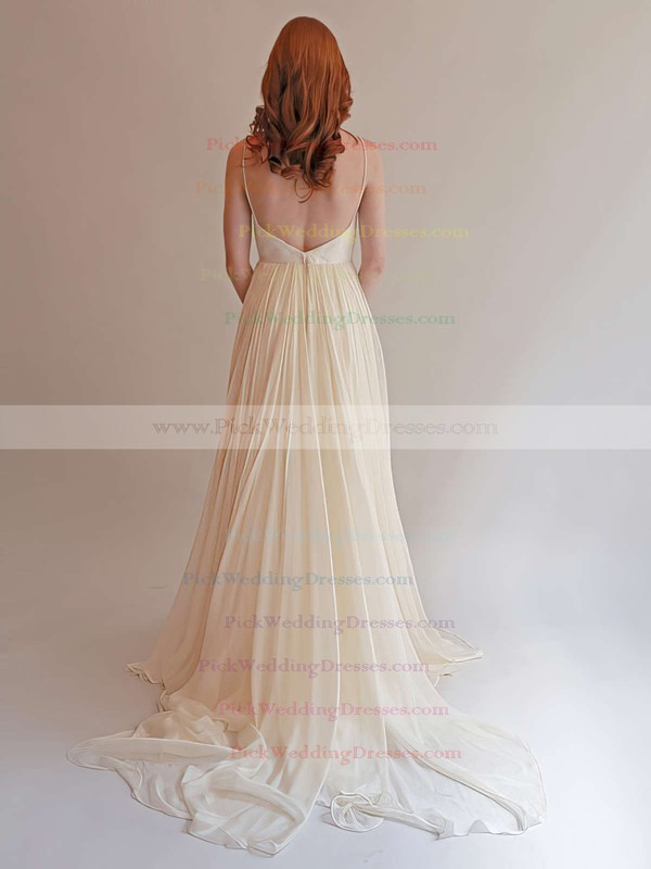 Chiffon Ruffles with Spaghetti Straps Ivory Sweetheart Simple Backless Wedding Dress #PWD00021393