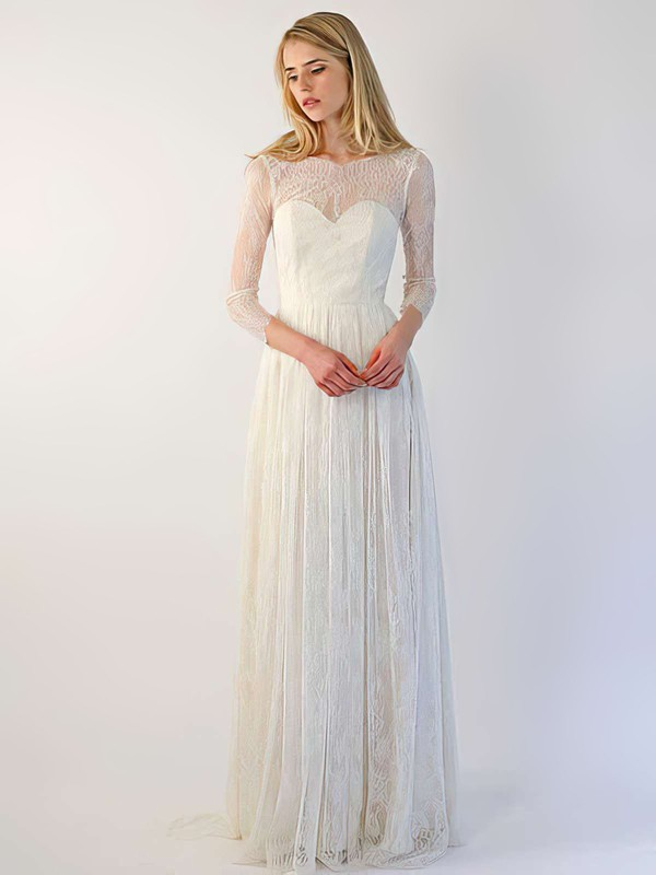 Gorgeous Ivory Lace Scoop Neck with Buttons 3/4 Sleeve Wedding Dresses #PWD00021394