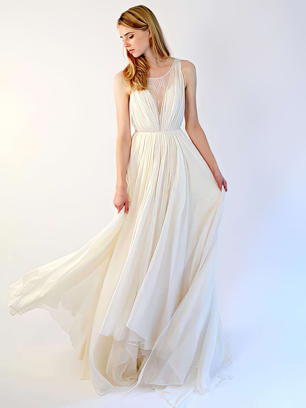Chiffon Lace Scoop Neck with Buttons Ivory Wholesale Wedding Dresses #PWD00021395