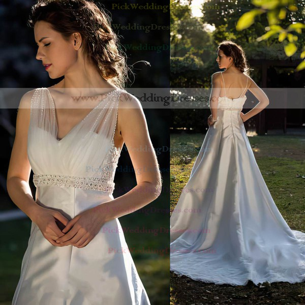 Best Ivory V-neck Satin Tulle Lace Beading with Chapel Train Wedding Dress #PWD00021397