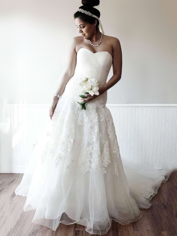 A-line Ivory Tulle Appliques Lace Sweetheart Lace-up Chapel Train Wedding Dress #PWD00021400