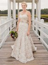 Lace Sweetheart and Sashes/Ribbons Champagne Unique Watteau Train Wedding Dresses #PWD00021403