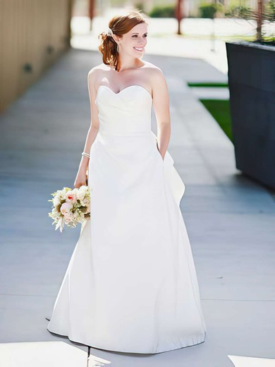 A-line Sweetheart White Satin Ruffles Classic Wedding Dress #PWD00021404