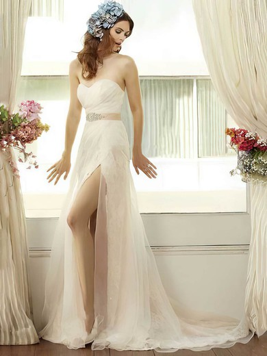 Latest Trumpet/Mermaid Ivory Lace Tulle Split Front Sweetheart Wedding Dresses #PWD00021405