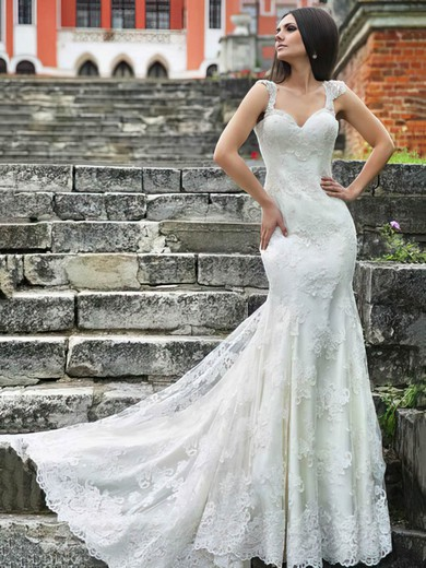 Sweetheart Straps Ivory Lace and Open Back Glamorous Trumpet/Mermaid Wedding Dresses #PWD00021406