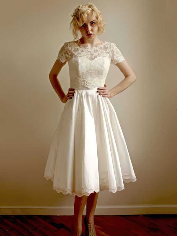 Ivory Taffeta Scoop Neck Tea-length Modest Lace Short Sleeve Wedding Dress #PWD00021407