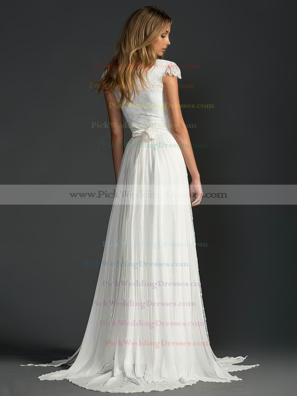 Scoop Neck Cap Straps Sweep Train Beading Ivory Lace Chiffon Wedding Dress #PWD00021410