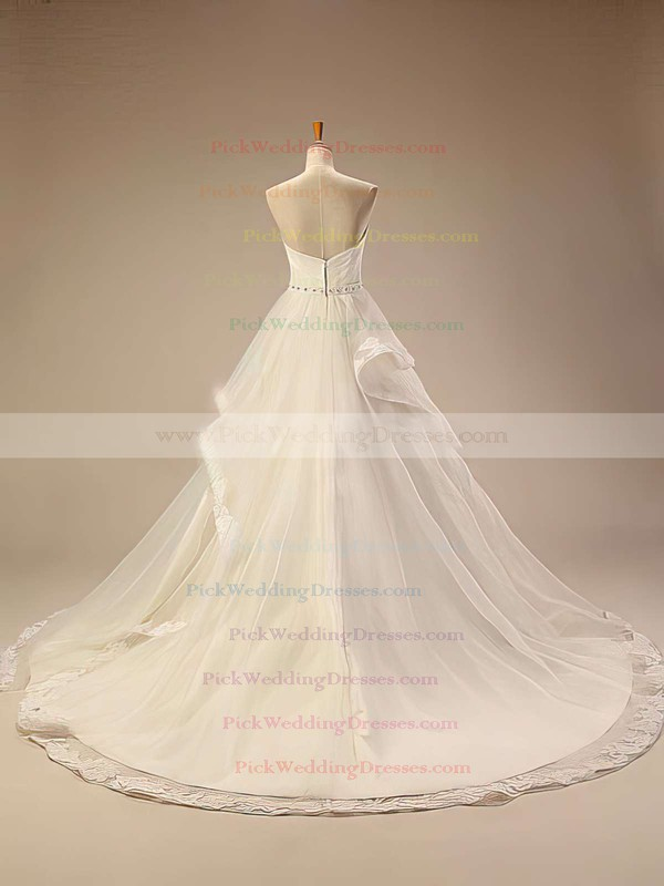 Gorgeous Chapel Train Ivory Tulle Appliques Lace Sweetheart Wedding Dresses #PWD00021414