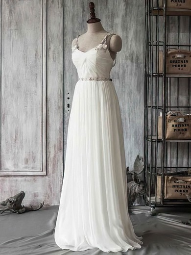 5abd163f3e Boutique Ivory Chiffon Tulle Sweetheart Beading Straps Sweep Train Wedding  Dress  PWD00021415