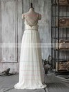 Boutique Ivory Chiffon Tulle Sweetheart Beading Straps Sweep Train Wedding Dress #PWD00021415