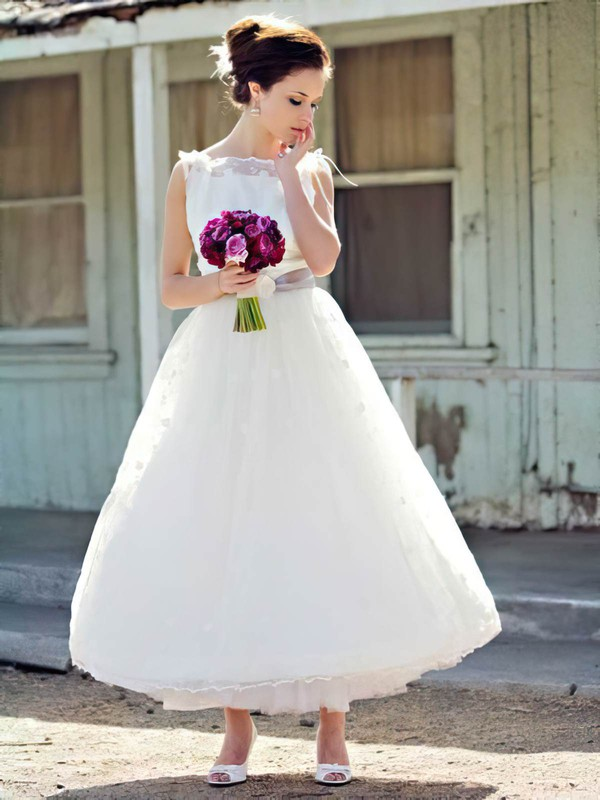 Pretty Ankle-length White Lace with Sashes/Ribbons Ball Gown Wedding Dress #PWD00021241