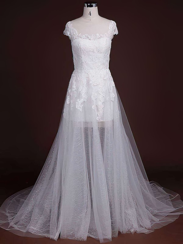Court Train Scoop Neck Tulle Wholesale Appliques Lace Wedding Dresses #PWD00021244