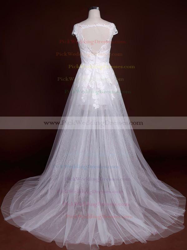 Court Train Scoop Neck Tulle Wholesale Appliques Lace Wedding Dresses #PWD00021244