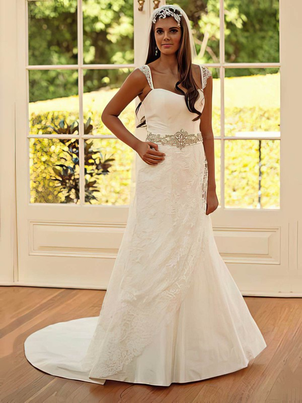 Chapel Train Sweetheart Lace Taffeta Sashes / Ribbons Zipper Affordable  Wedding Dress #PWD00021251