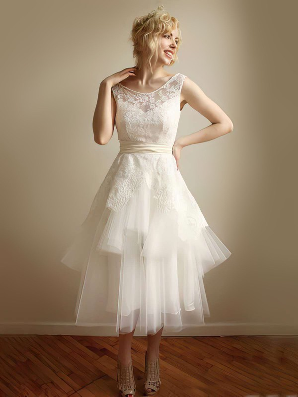 Perfect Scoop Neck Ivory Lace Tulle Cascading Ruffles Straps Tea-length Wedding Dress #PWD00021253