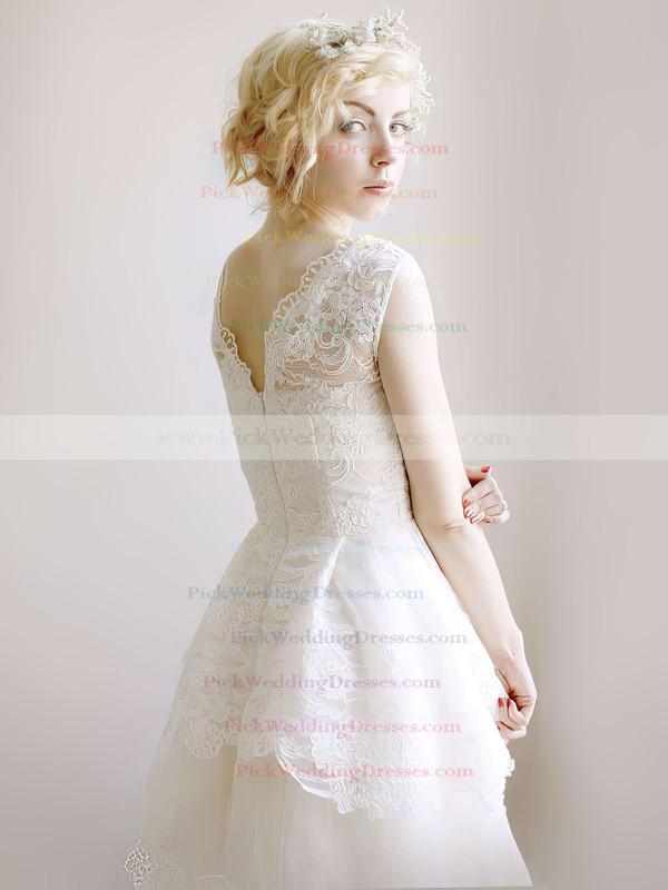Modest Ivory Lace Organza V-neck Straps Floor-length Wedding Dresses #PWD00021254