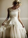Modest Ivory Lace Organza V-neck Straps Floor-length Wedding Dresses #PWD00021254
