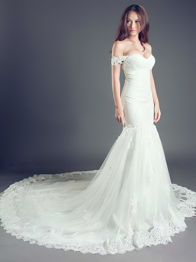 Gorgeous Off-the-shoulder Tulle Appliques Lace Lace-up Cathedral Train Wedding Dress #PWD00021260