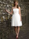 Square Neckline White Chiffon Pleats Short/Mini Simple Wedding Dresses #PWD00021264
