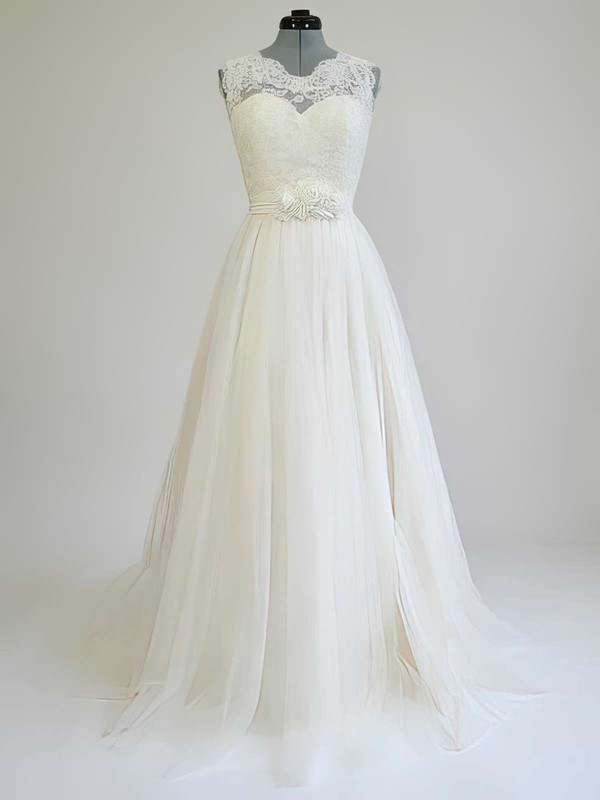 Scoop Neck Sashes / Ribbons Sweep Train Lace Tulle Wedding Dress #PWD00021269