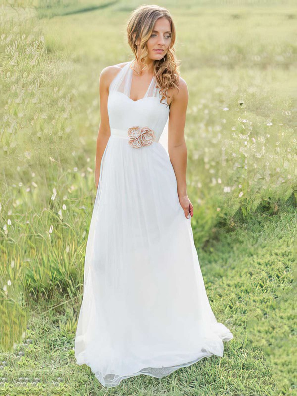 Elegant Halter White Tulle A-line Sashes / Ribbons Sweep Train Amazing Wedding Dress #PWD00021270