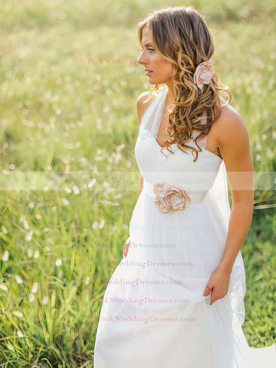 Elegant Halter White Tulle A-line Sashes / Ribbons Sweep Train Amazing Wedding Dress #PWD00021270